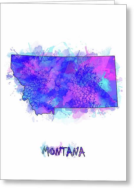 Montana Map Watercolor 2 Greeting Card