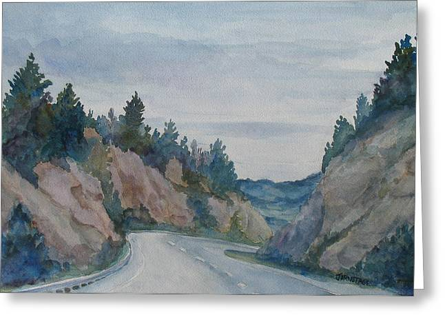 Road Trip Paintings Greeting Cards - Montana Road Trip Greeting Card by Jenny Armitage