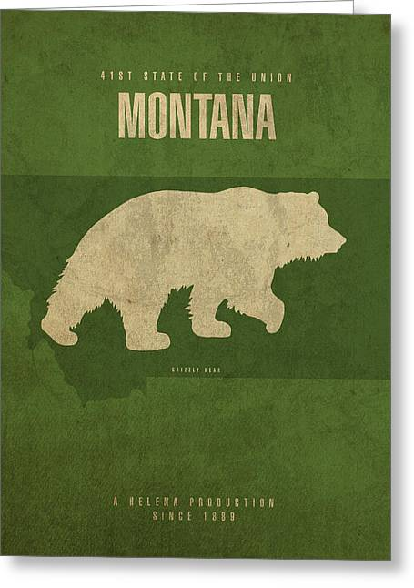 Montana State Facts Minimalist Movie Poster Art Greeting Card by Design Turnpike