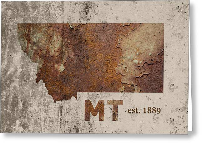 Montana State Map Industrial Rusted Metal On Cement Wall With Founding Date Series 041 Greeting Card by Design Turnpike