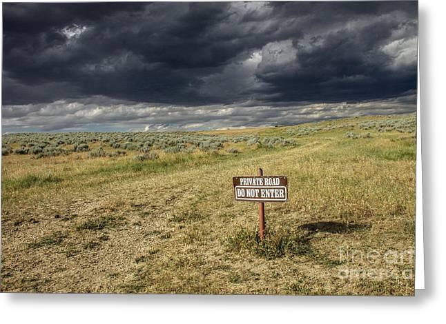 Montana Storm Greeting Card by Sandy Adams