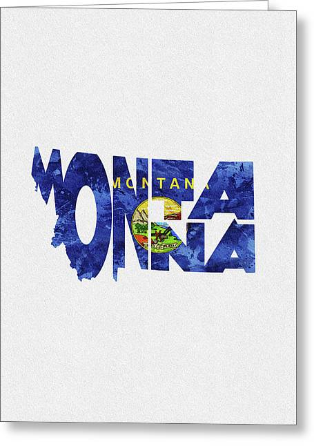 Montana Typographic Map Flag Greeting Card