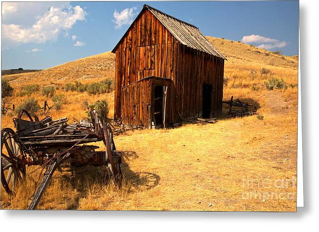 Montana Wagon And Barn Greeting Card