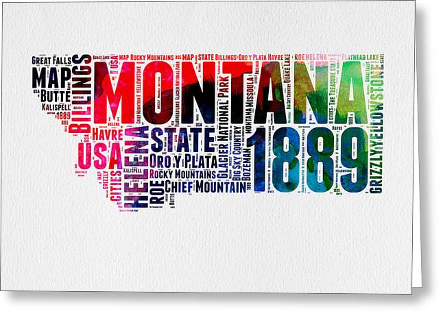 Montana Watercolor Word Cloud  Greeting Card by Naxart Studio