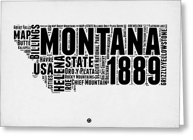 Montana Word Cloud 2 Greeting Card by Naxart Studio