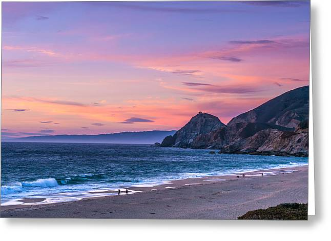Half Moon Bay Greeting Cards - Montara Beach at Sunset Greeting Card by Eden Feil