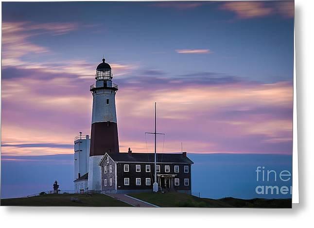 Montauk Lighthousepastel  Sunrise Greeting Card