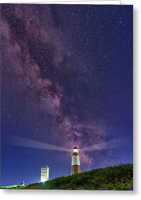 Montauk Point And The Milky Way Greeting Card by Rick Berk