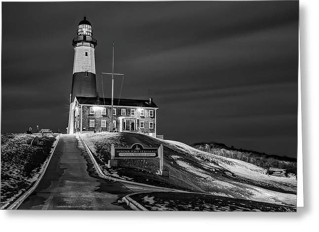 Greeting Card featuring the photograph Montauk Point Lighthouse Bw by Susan Candelario