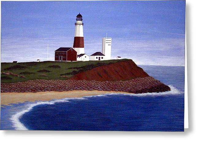 Montauk Point Lighthouse Greeting Card by Frederic Kohli