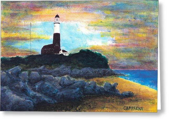 Montauk Point Greeting Card by Teddy Campagna