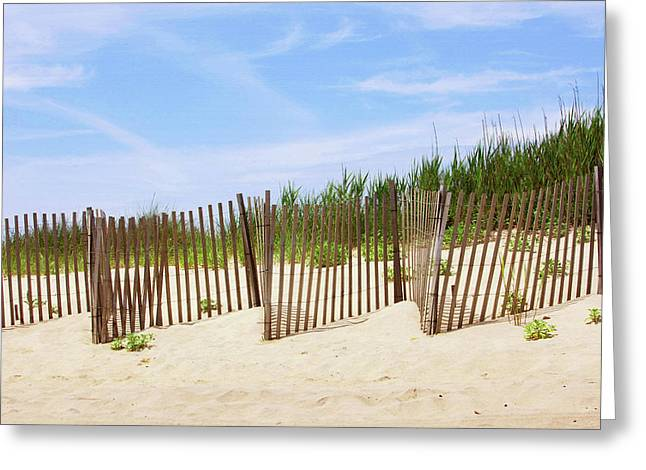 Montauk Sand Fence Greeting Card by Art Block Collections