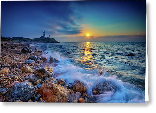 Coastal Lighthouses Greeting Cards - Montauk Sunrise Greeting Card by Rick Berk