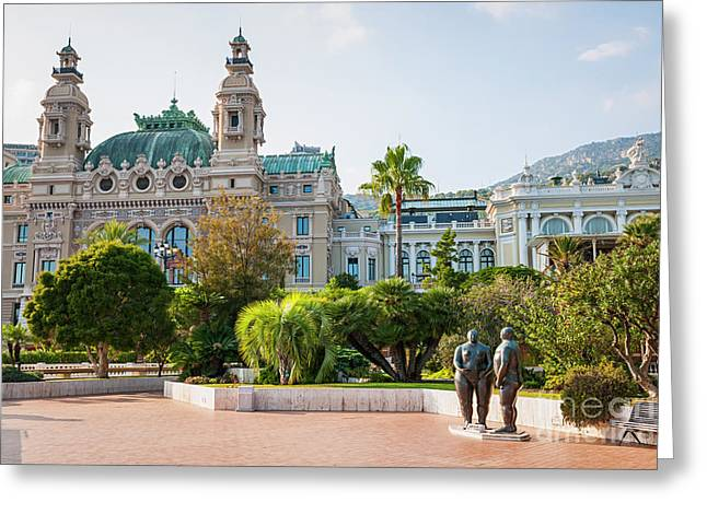 Monte Carlo Casino And Gardens, Monaco Greeting Card by Elena Elisseeva