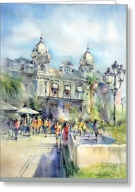 Monte Carlo Casino - Monaco Greeting Card by Natalia Eremeyeva Duarte