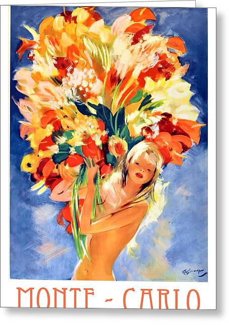 Monte Carlo Girl With Flowers 1940's Travel Poster Greeting Card