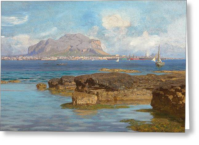 Monte Pellegrino  Palermo Sicily Greeting Card by Francesco Lojacano