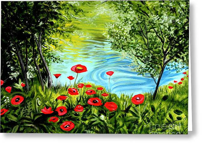Greeting Card featuring the painting Monte Rio Poppies by Elizabeth Robinette Tyndall