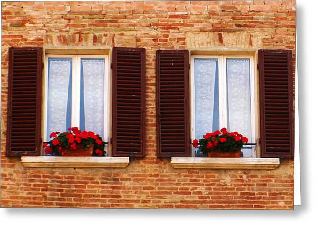 Montepulciano Window Greeting Card by Rob Tullis