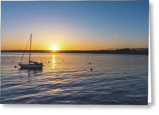 Monterey Bay Sailboat At Sunrise Greeting Card
