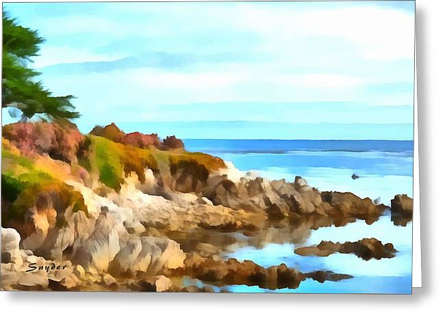 Greeting Card featuring the photograph Monterey Coastline Watercolor by Floyd Snyder