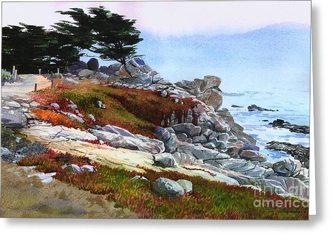 Greeting Card featuring the painting Monterey Coast by Sergey Zhiboedov
