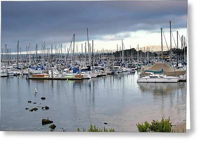 Sailboats Docked Greeting Cards - Monterey Harbor - California Greeting Card by Brendan Reals