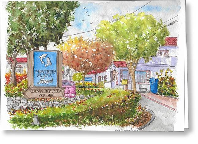 Monterey Plaza Shops In Cannery Row, Monterey, California Greeting Card
