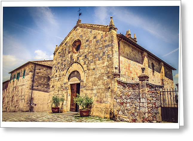 Monteriggioni Main Church Greeting Card by Luca Lorenzelli