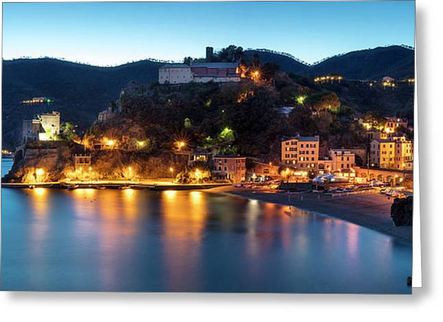 Greeting Card featuring the photograph Monterosso Al Mare At Twilight by Brian Jannsen
