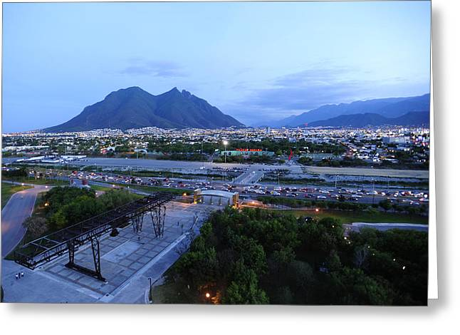 Monterrey At Dusk With Cerro De La Greeting Card