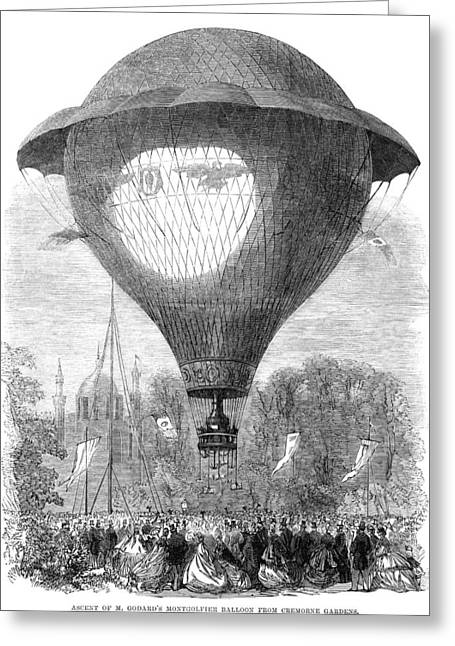 Montgolfier Balloon, 1864 Greeting Card by Granger