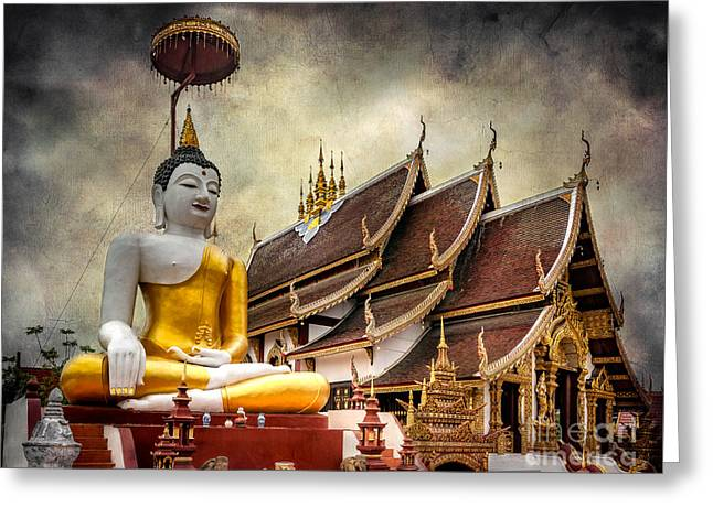 Monthian Temple Buddha Greeting Card by Adrian Evans