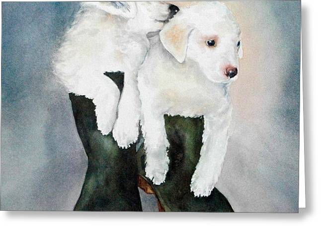 Greeting Card featuring the painting Monti And Gemma by Diane Fujimoto