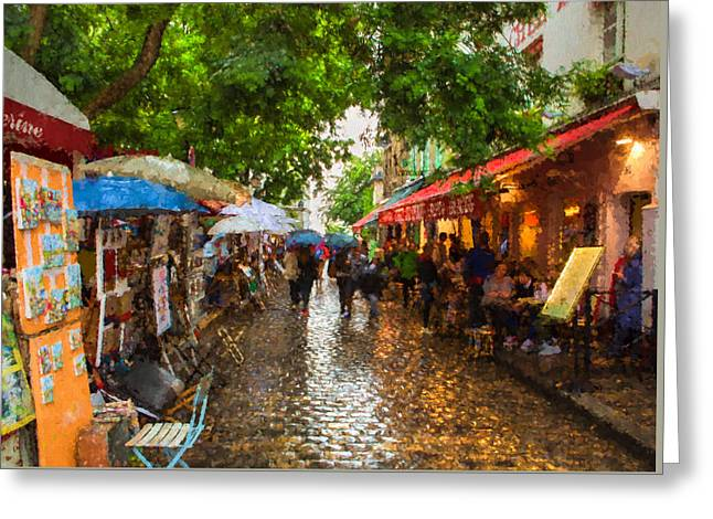 Greeting Card featuring the photograph Montmartre Art Market, Paris by Carl Amoth