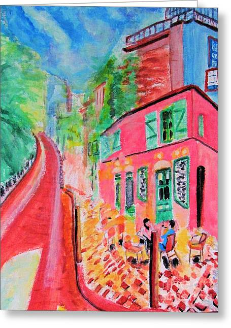 Montmartre Cafe In Paris Greeting Card