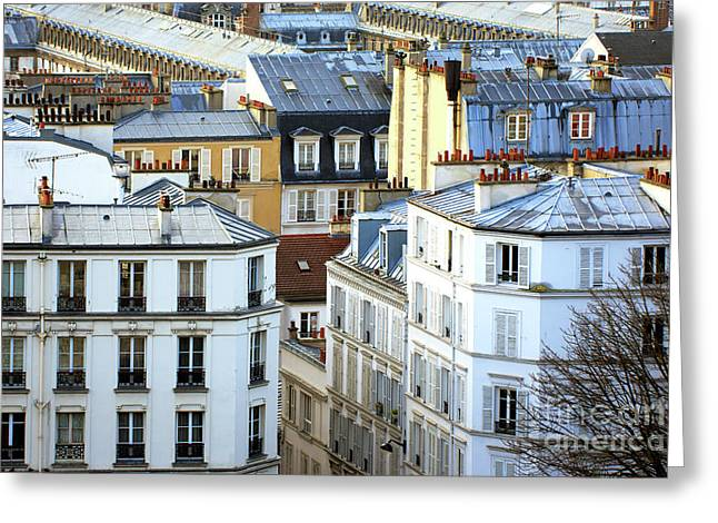 Montmartre View In Paris Greeting Card by John Rizzuto