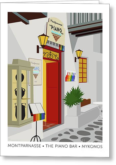 Greeting Card featuring the digital art Montparnasse The Piano Bar by Sam Brennan