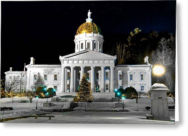 Montpelier Christmas Eve Night Greeting Card by Jim Proctor