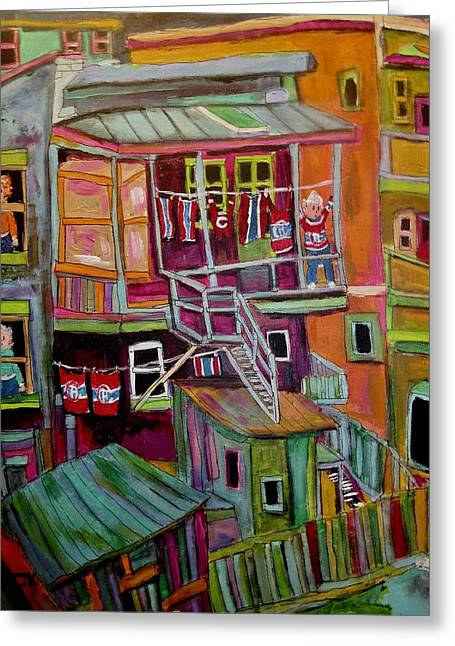 Montreal Back Lanes Everywhere. Greeting Card by Michael Litvack