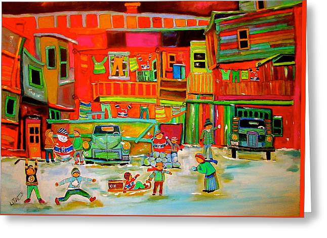 Montreal Backlane Winter Sports Greeting Card by Michael Litvack