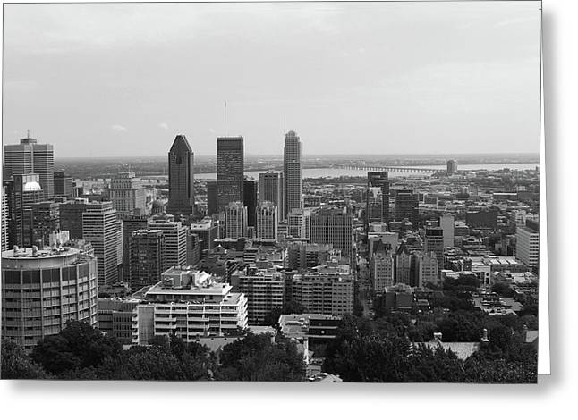Montreal Cityscape Bw Greeting Card