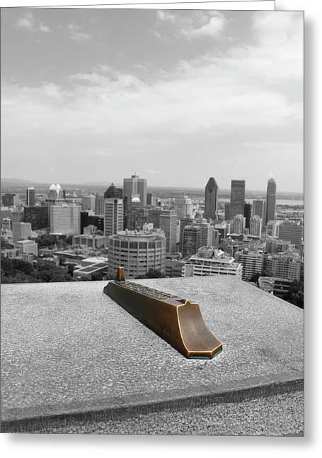 Montreal Cityscape Bw With Color Greeting Card