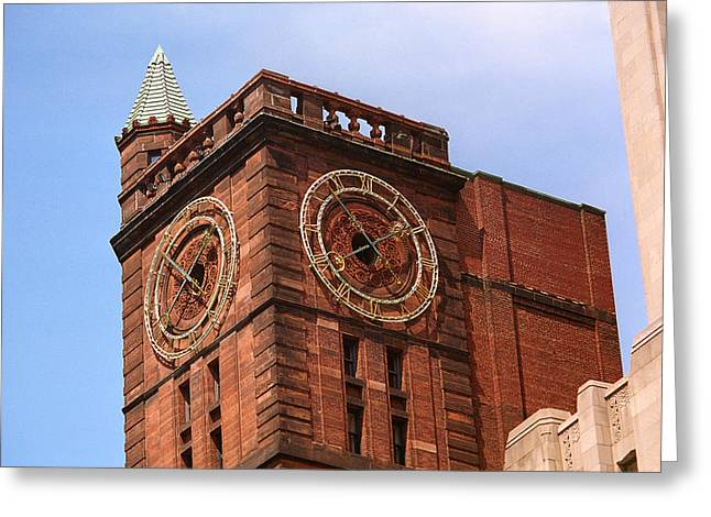 Montreal Clock Tower Greeting Card by Frank Romeo
