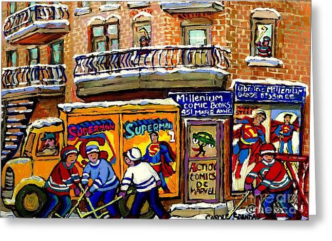 Montreal Comic Book Shop Librarie Millenium Hockey Art Superman Comics Winter Snow Scene Painting Greeting Card by Carole Spandau