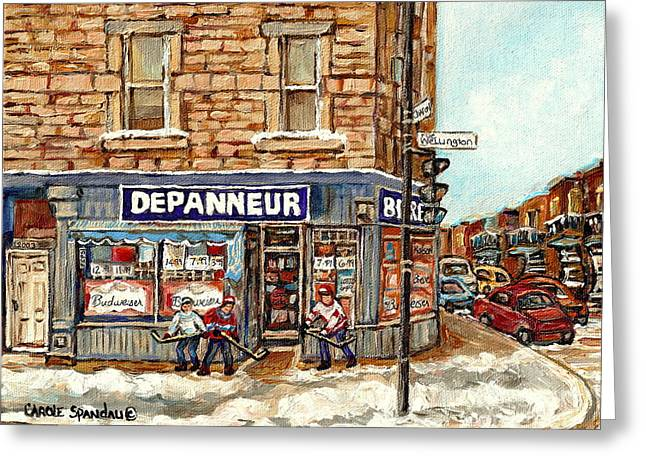 Montreal Corner Depanneur With Hockey Art Verdun Winter City Scene Canadian Painting Carole Spandau  Greeting Card by Carole Spandau