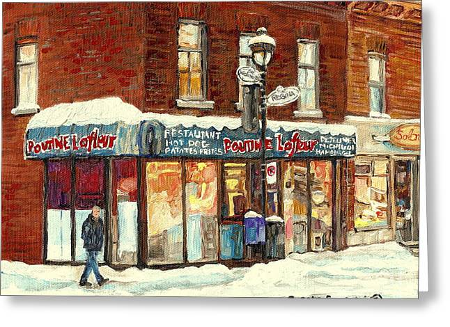 Montreal Corner Poutine Lafleur Street Hockey Winter Scene Canadian Art For Sale Carole Spandau      Greeting Card by Carole Spandau