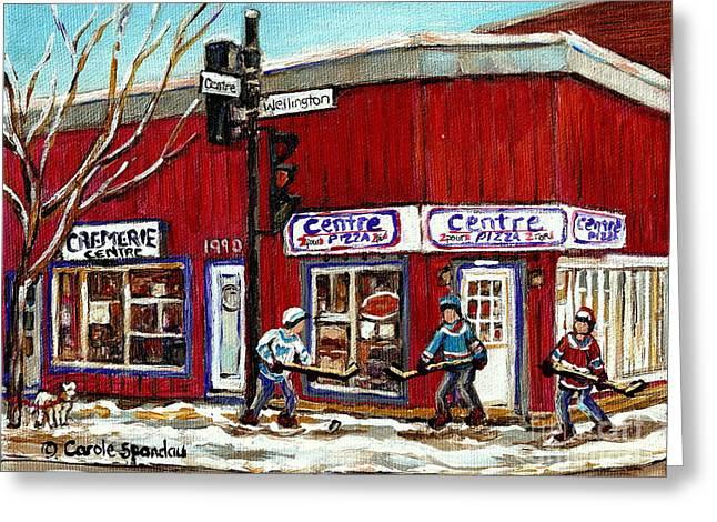 Montreal Corner Restaurant Centre Pizza Hockey Art Winter Scene Canadian Painting Carole Spandau Greeting Card
