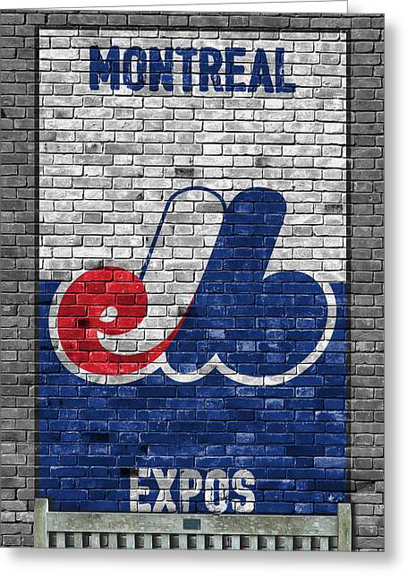 Montreal Expos Brick Wall Greeting Card by Joe Hamilton