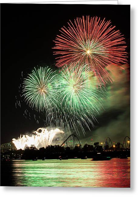 Montreal-fireworks Greeting Card by Mircea Costina Photography